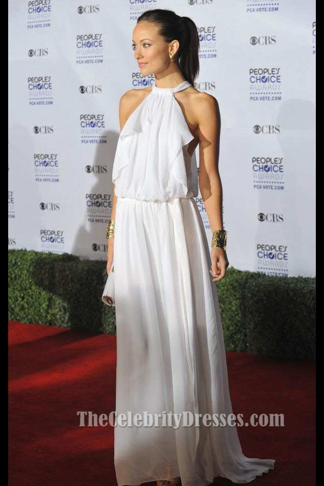 Olivia Wilde White Chiffon Evening Dress Peoples Choice Awards 2009  TheCelebrityDresses