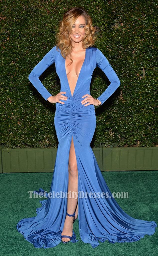 Patricia Zavala Sexy Blue Long Sleeve Evening Dress 2015