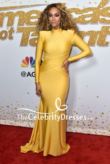 Tyra Banks Yellow Mermaid Evening Dress With Long Sleeves