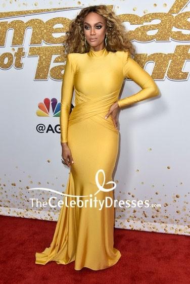 Tyra Banks Yellow Mermaid Evening Dress With Long Sleeves Americas Got Talent season 13 live