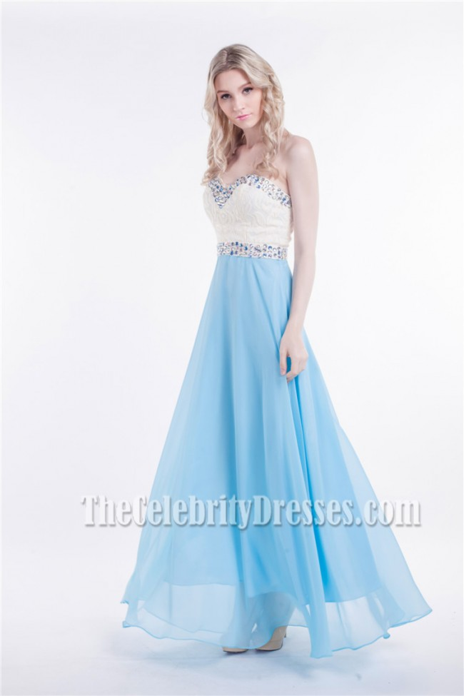 White And Blue Strapless Sweetheart Beaded Prom Dress