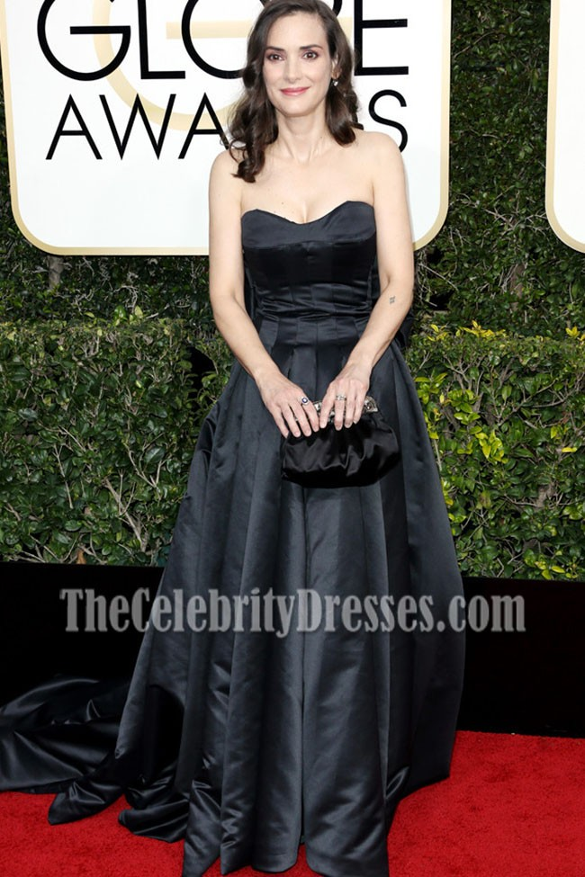 Winona Ryder Black Strapless Ball Gown Golden Globes 2017 Red Carpet Dress  TheCelebrityDresses