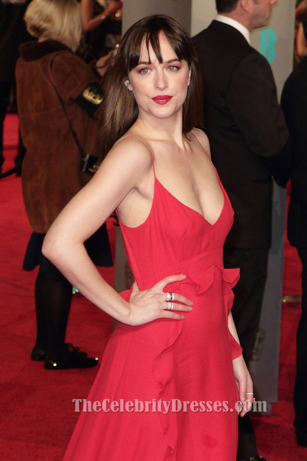 Why Is My Wallpaper Falling Off Dakota Johnson Red Evening Dress 2016 Bafta Awards Red