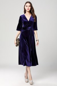 Dark Royal Blue Velvet Cocktail Semi Formal Dresses ...