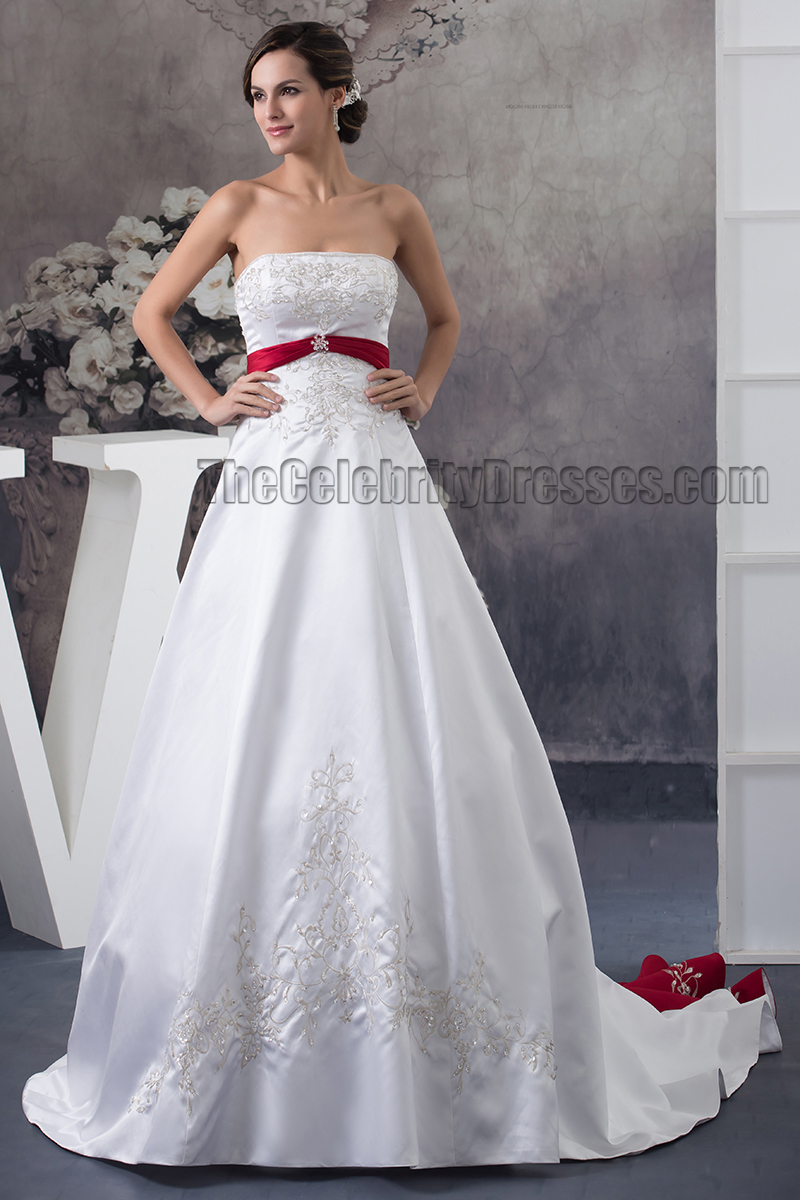 Strapless Embroidered ALine Chapel Train White And Burgundy Wedding Dress  TheCelebrityDresses
