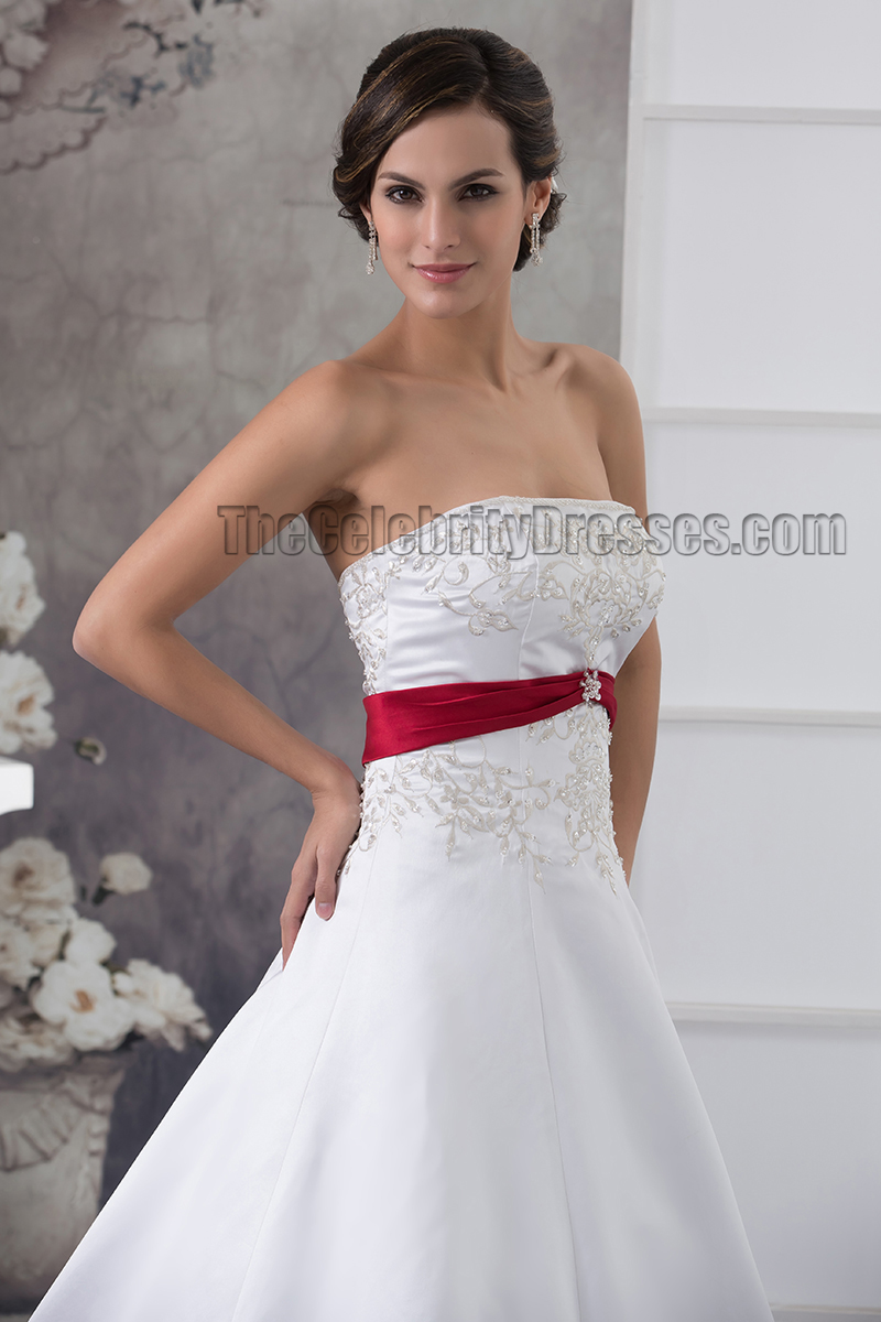 Strapless Embroidered ALine Chapel Train White And