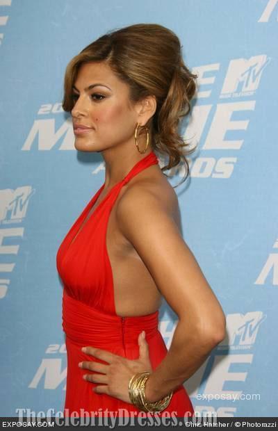 Eva Mendes Deep Vneck Halter Red Prom Dress 2006 MTV