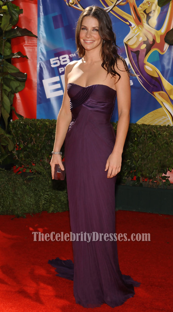 Evangeline Lilly Grape Formal Dress 58th Annual Primetime