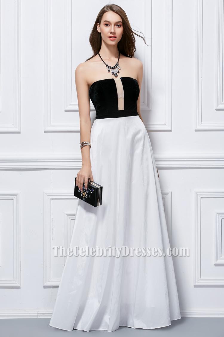 Floor Length Black And White Strapless Evening Formal
