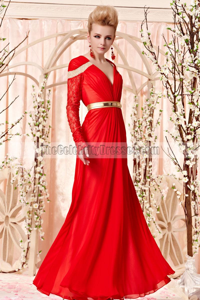 Floor Length Red VNeck Long Sleeve Formal Dress Evening