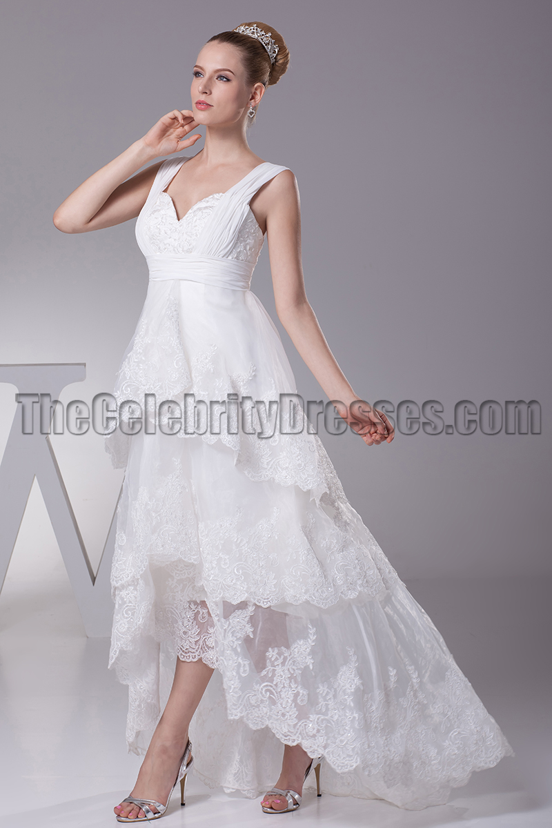 Floor Length VNeck ALine Hi Low Wedding Dresses  TheCelebrityDresses