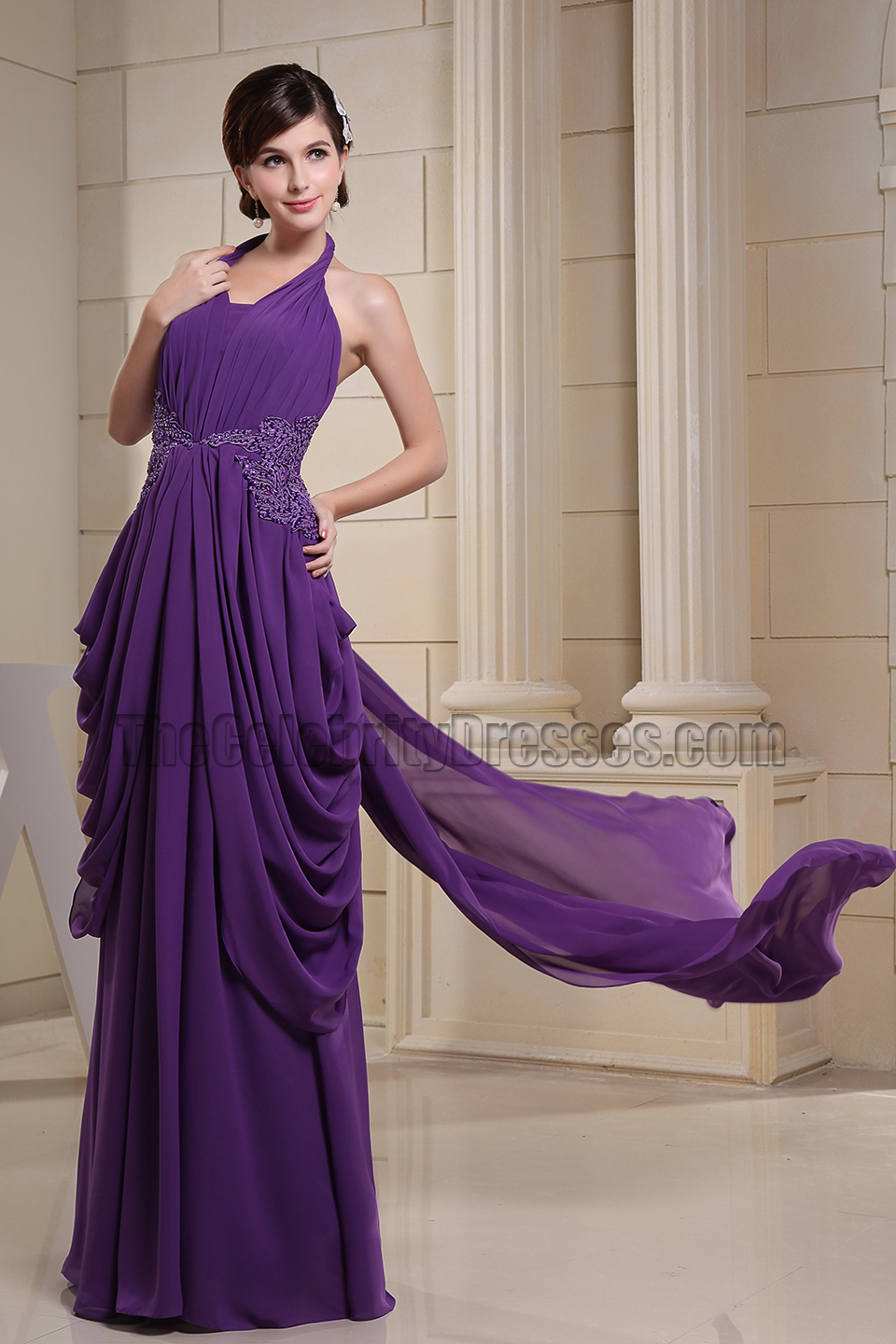 Regency Halter Chiffon Prom Gown Formal Evening Dresses  TheCelebrityDresses