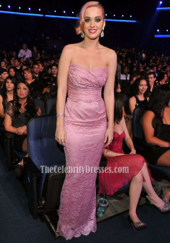 Katy Perry Pink Strapless Lace Prom Dress Evening Gown