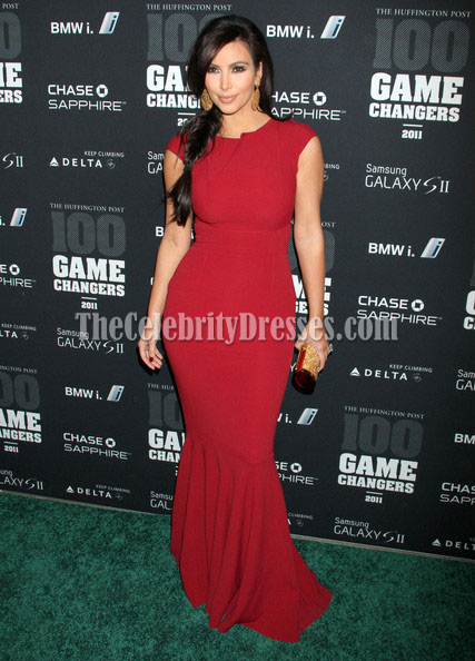 Kim Kardashian Red Prom Gown Formal Dress Game Changers Awards Red Carpet  TheCelebrityDresses
