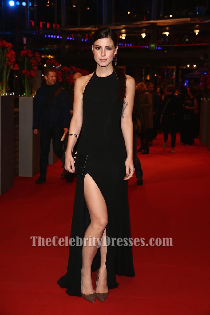 Lena MeyerLandrut Black Halter Evening Dress Berlinale Film Festival Red Carpet Dresses