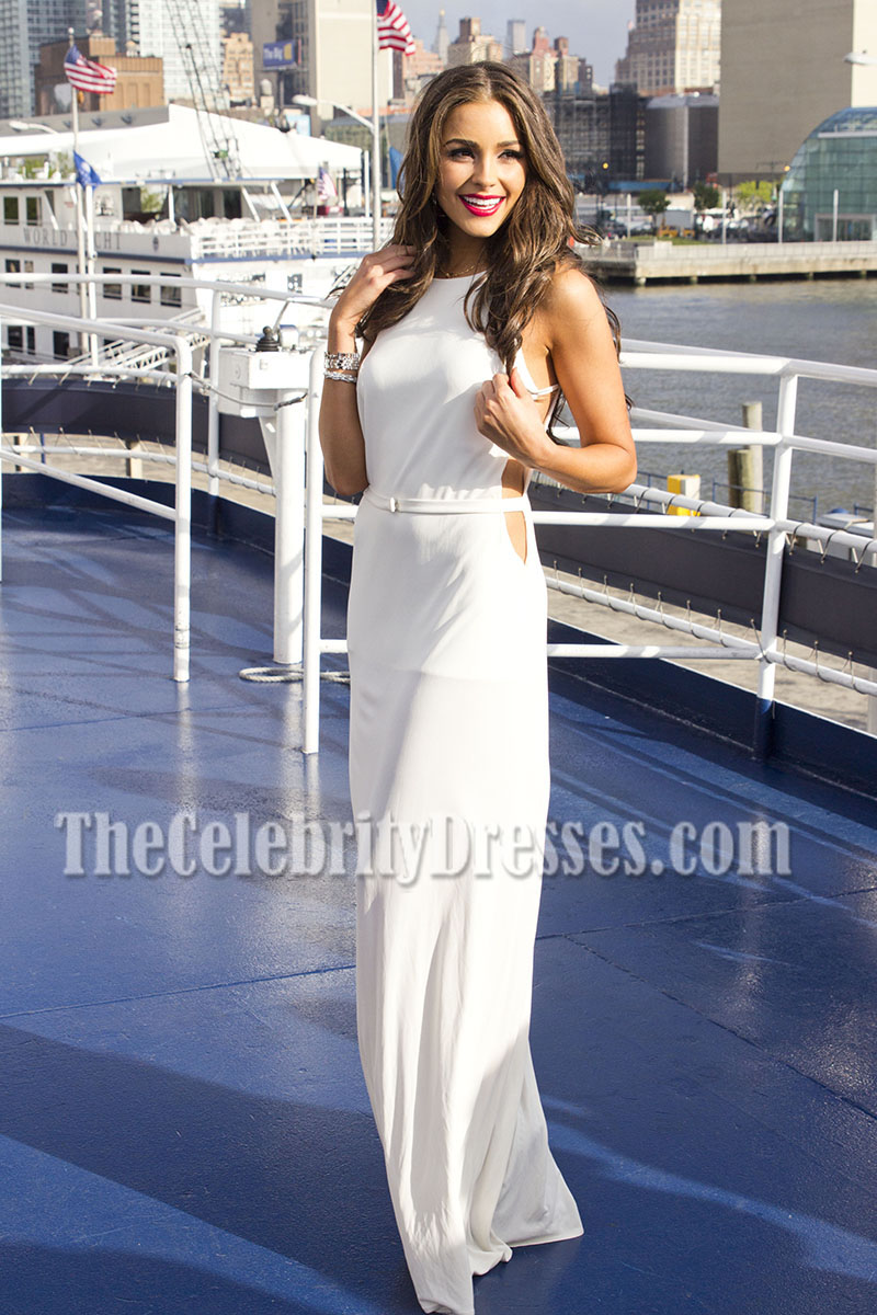 Miss Universe Olivia Culpo White Cut Out Prom Gown 21st