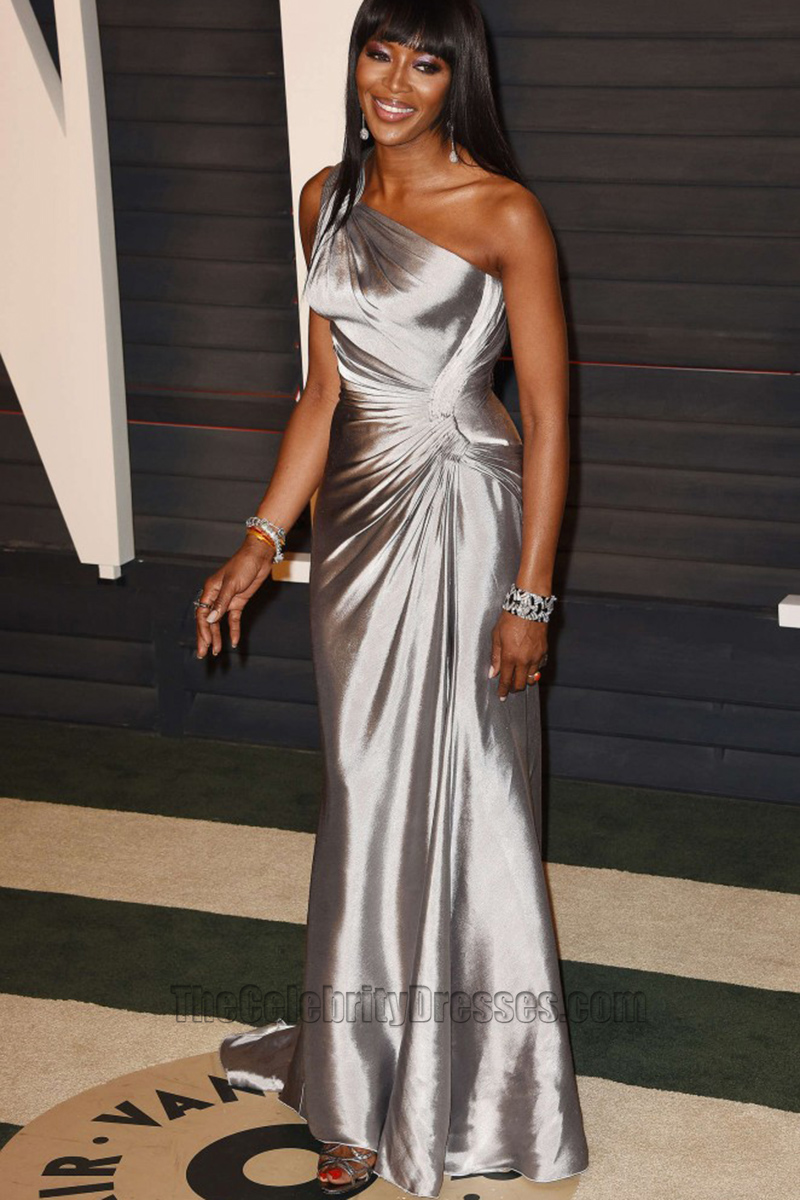 Naomi Campbell 2016 Vanity Fair Oscar Party Silver OneShoulder Evening Prom Gown TCD6692