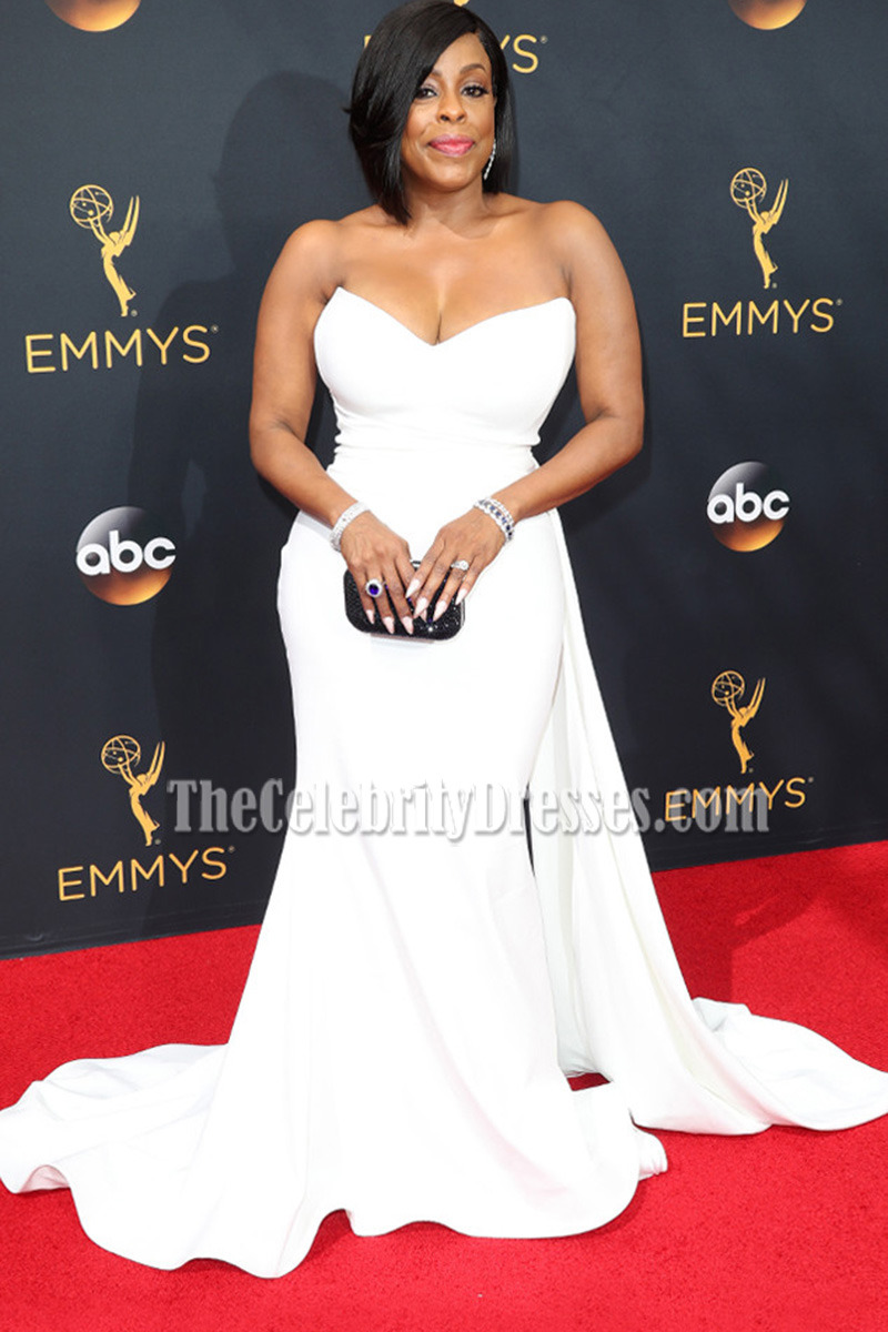 Niecy Nash White Strapless Long Red Carpet Evening Dress