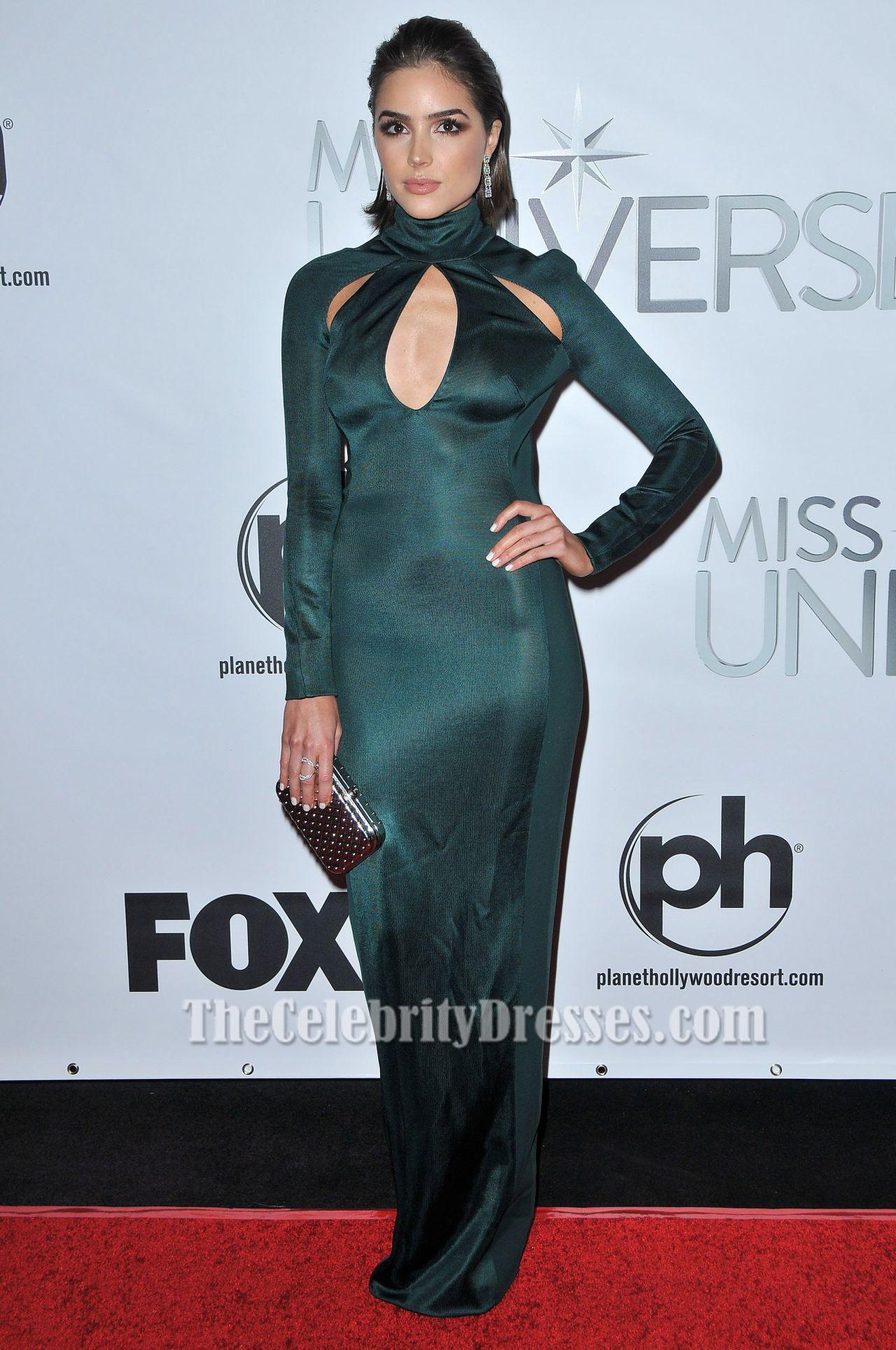 Olivia Culpo Long Sleeve Evening Dress 2015 Miss Universe