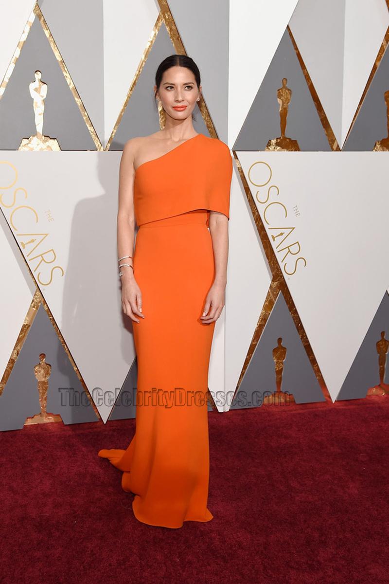 Olivia Munn 2016 Oscar Academy Awards Orange Oneshoulder