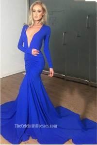 Sexy Low Cut Royal Blue Long Sleeve Evening Dress ...