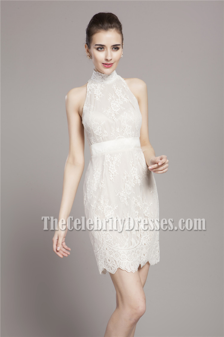ShortMini Ivory Lace High Neck Cocktail Party Dresses