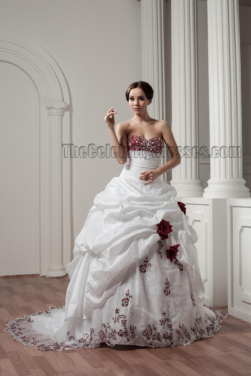 White And Burgundy Embroidered ALine Strapless Wedding