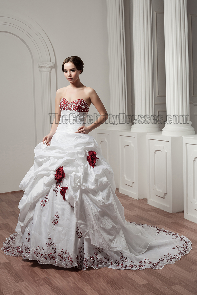 White And Burgundy Embroidered ALine Strapless Wedding