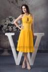 Yellow Knee Length Chiffon Dress