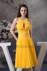 Yellow Knee Length Cocktail Dress