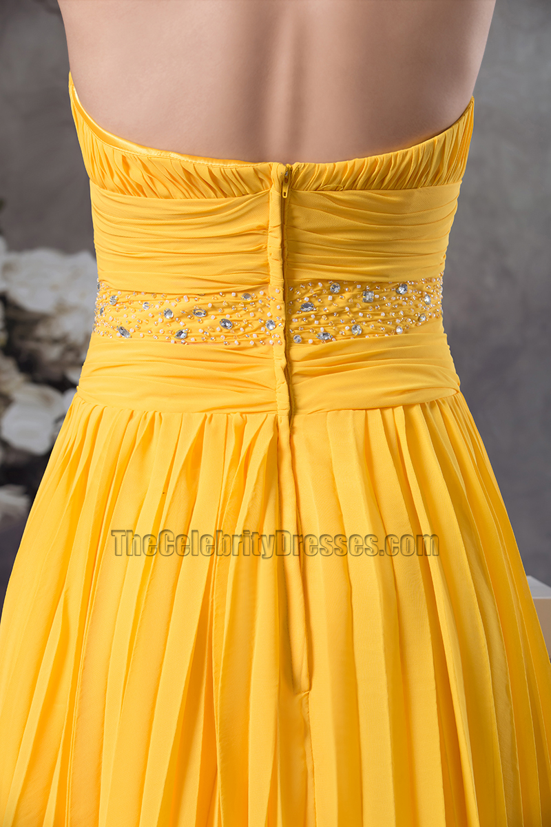 Yellow Knee Length Halter Chiffon Cocktail Bridesmaid Dresses  TheCelebrityDresses