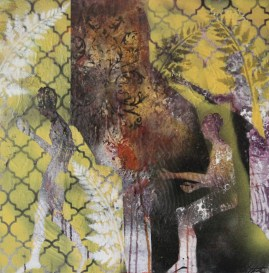 "20"" x 20"" Mixed media on canvas"