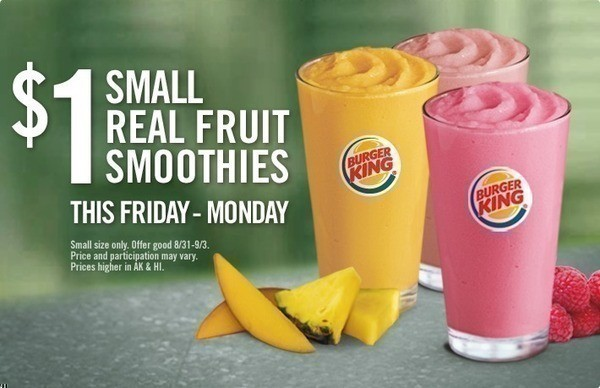Burger King 1 Small Real Fruit Smoothies MANY More Coupons For Meal Savings