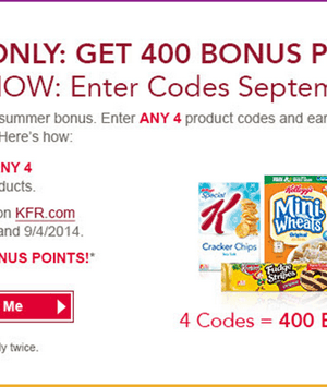 Kellogg's Family Rewards: Earn up to 800 Bonus Points {September 2nd–4th}