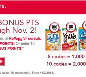 Kellogg's Family Rewards: Earn up to 2,000 Bonus Points {Through November 2nd}