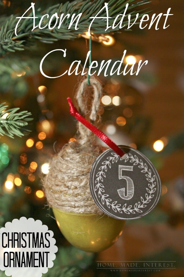 Acorn Advent Calendar Christmas Ornament - Home Made Interest