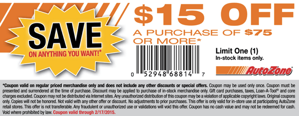 autozone coupon code for