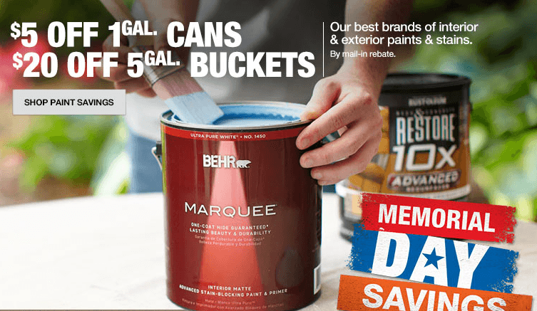 "The annual Memorial Day paint rebate is back at Home Depot! You can get $5 back for every gallon of paint purchased, or $20 back for every five-gallon bucket purchased. This includes most of their ""regular"" paint brands, but does exclude a few speciality paints. Read more and print the form here."