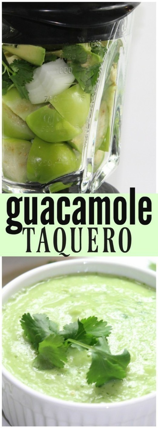 A thinner version of the classic guacamole, this Guacamole Taquero is a tart blend of avocados and tomatillos, flavored with serrano peppers and lime.