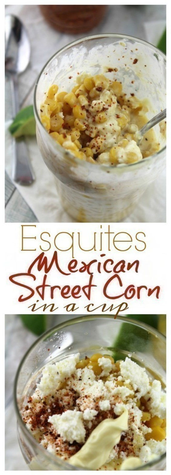 Esquites is a an off the cob version of elotes - grilled Mexican Sweet Corn smothered in creamy, chile lime sauce and served in a cup.