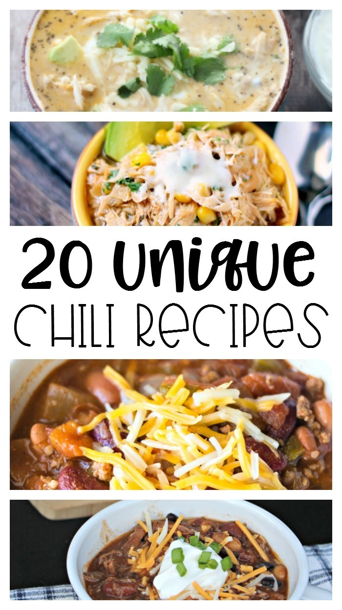 When cooler weather hits, chili and soups are a definite *must*!  Incorporate any of these 20 unique chili recipes into your next dinner meal!  #chili | #soup