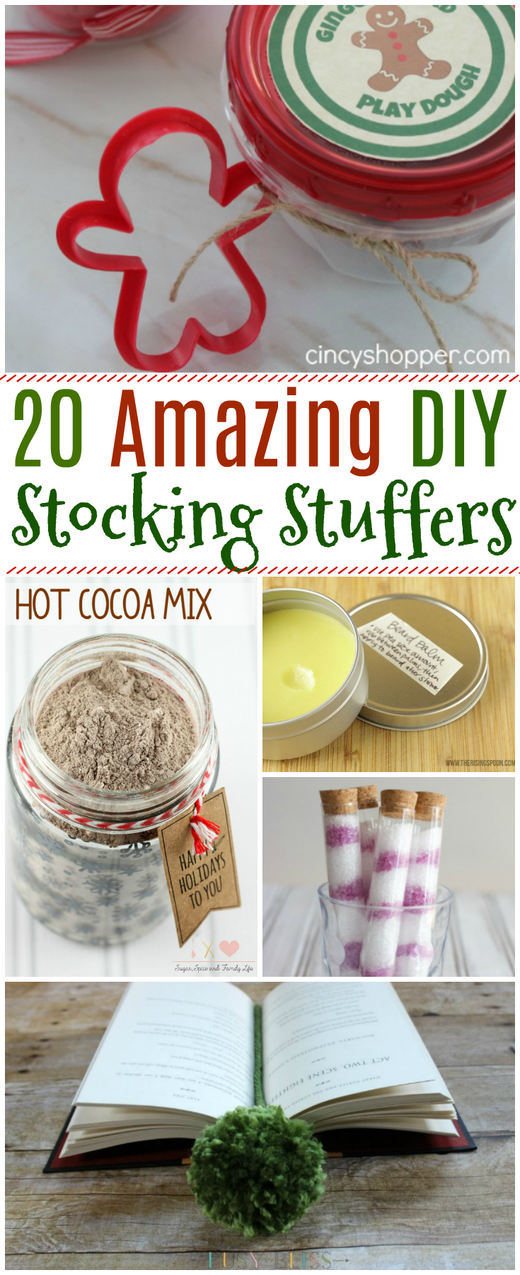 Find 20 Amazing DIY Stocking Stuffers that are incredibly easy to put together, cute to gift and perfect for the holidays! #Christmas #stockingstuffer #DIY #gift
