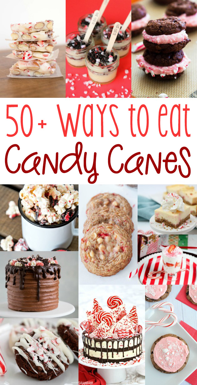 Over 50 delicious, creative ways to use candy canes - from cookies to fudge, drinks, pudding cups, popcorn and more!  Many of these would make fabulous gifts!  #candycanes #christmas