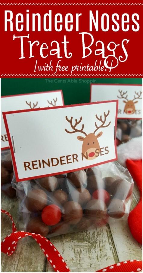 Reindeer Noses Treat Bags + FREE Printable Label