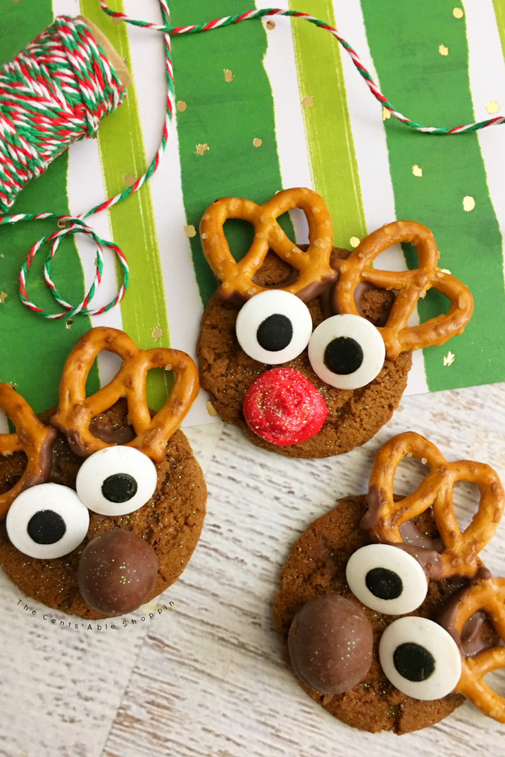 A festive way to dress up your favorite gingersnap or ginger holiday cookie!  #reindeer #gingersnap #ginger #cookies #christmas