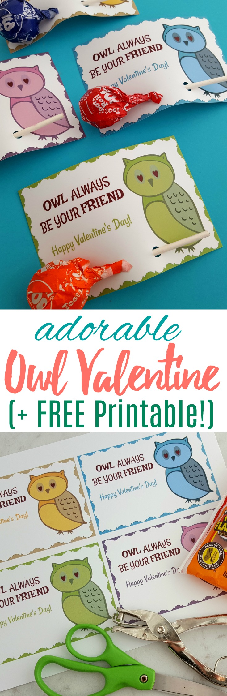 Grab these free Owl printable Valentine's Cards and attach a tootsie roll pop - they'll be a big hit for your child's next Valentine's party!