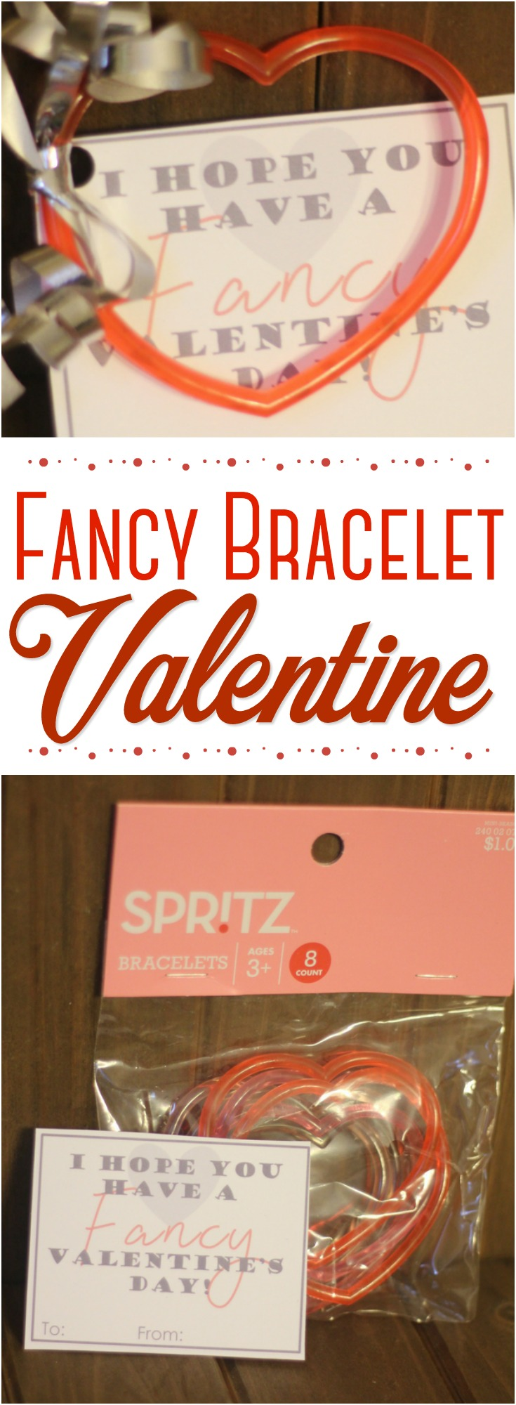 """These heart bracelet Valentines are such an inexpensive, yet """"fancy"""" Valentine's Day option for the classroom!  Get the DIY and FREE Valentine printable!    #Valentine #ValentinesDay #printable #bracelet #noncandy"""