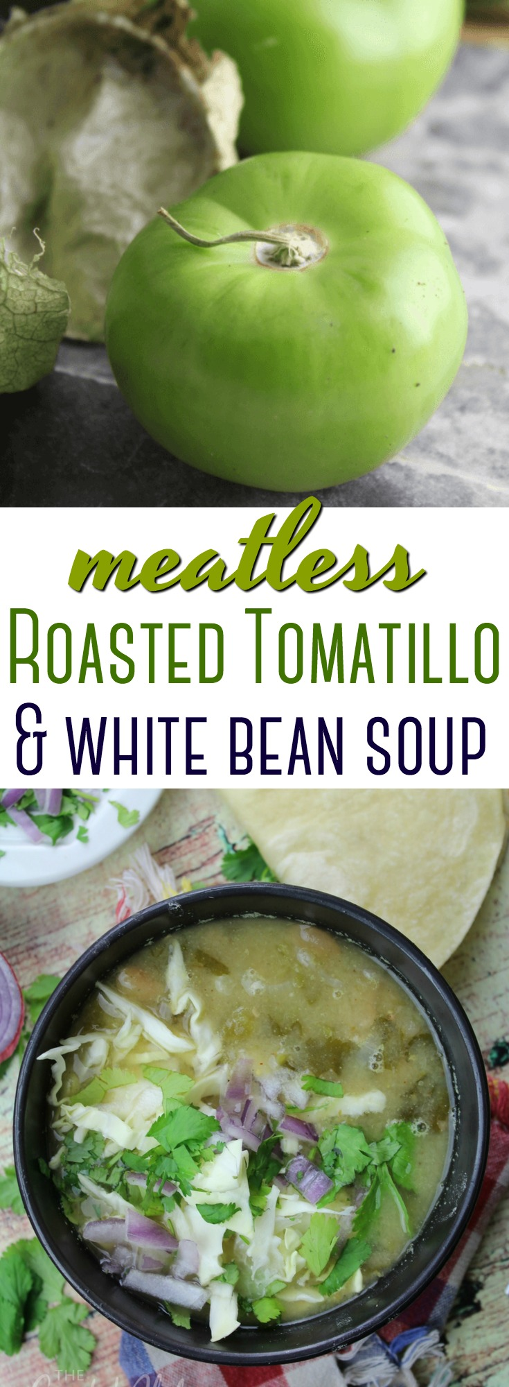 This Roasted Tomatillo and Bean soup is easy to throw together quickly for a flavorful, hearty Mexican-inspired meatless meal! #Mexican #tomatillo #meatless #soup #healthy