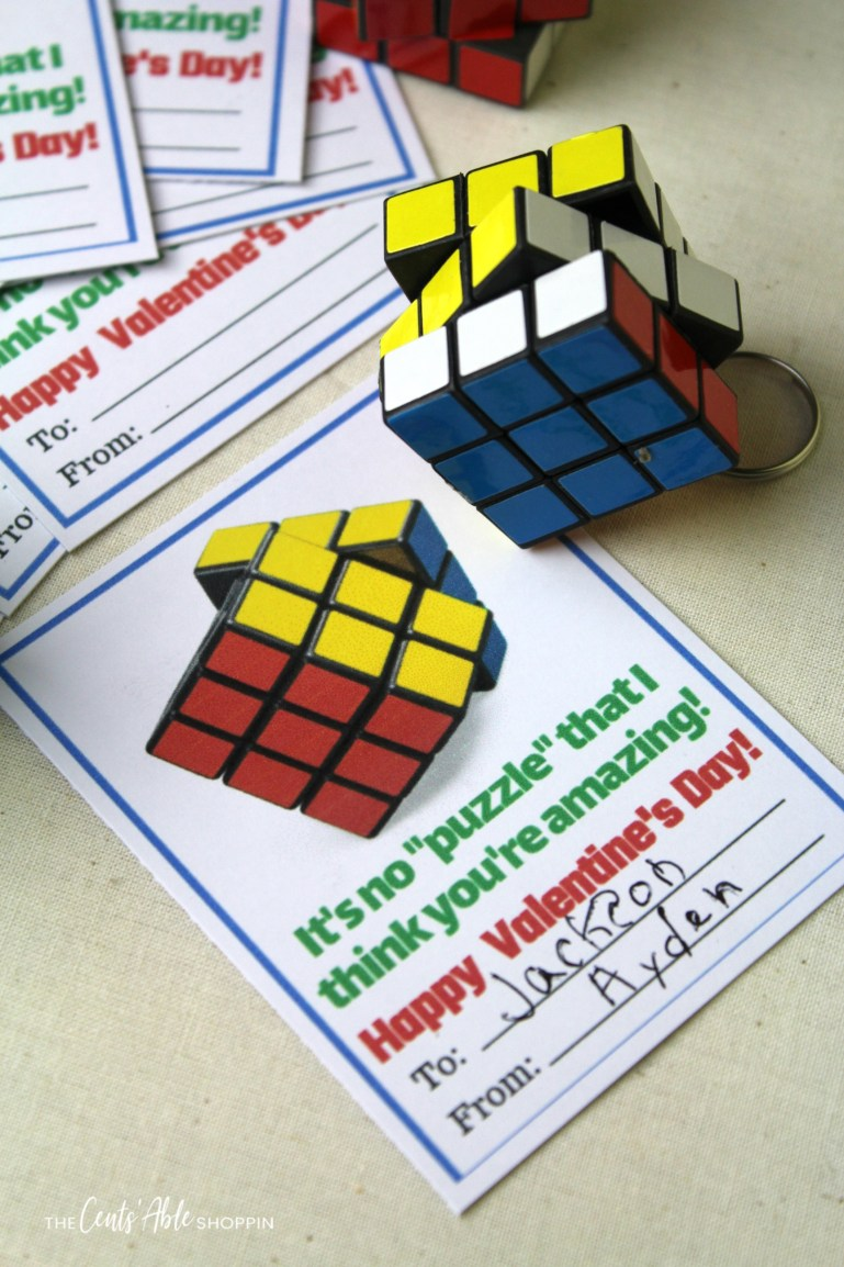 This free Rubik's Cube Valentine pays homage to the classic 3-D combination puzzle invented in the 70's -- a classic for everyone, from young to old!