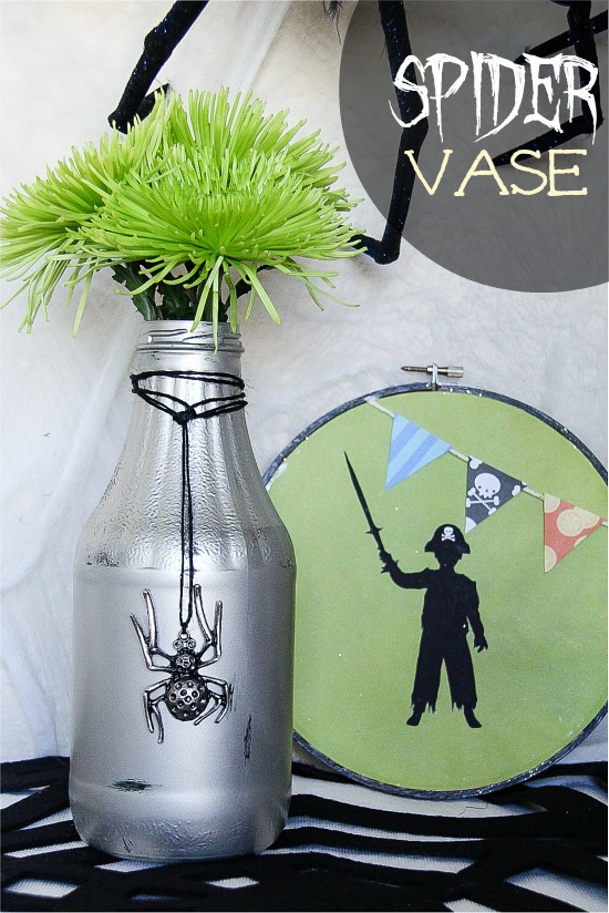 Upcycled glass bottle to Halloween vase